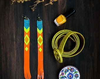 Long Leather Earrings, bright boho style trible geometric jewelry, orange and blue, chevron extravagant fashion jewelry