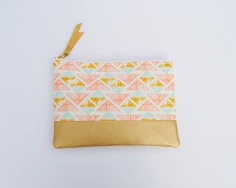Geometric clutch, Aztec zipper pouch, southwestern clutch, tribal clutch, Gold and coral bag, geometric print bag, bridesmaid gifts