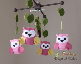 "Baby Crib Mobile - Baby Mobile - Owl Mobile - Nursery Wood Forest Crib Mobile ""Drops of Color Owls"" (You can pick your colors)"