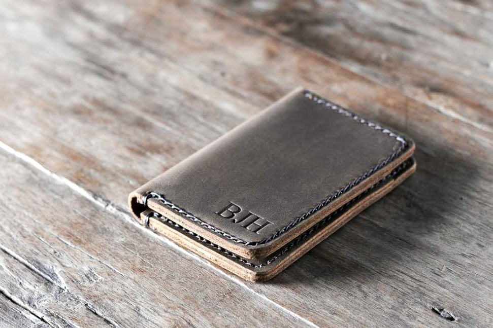 Wallet Leather Wallet Personalized Leather Wallet Front