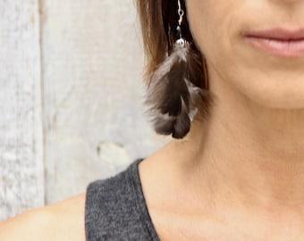 Grade AA Smoky Quartz Feather earring (Single) Sterling Silver