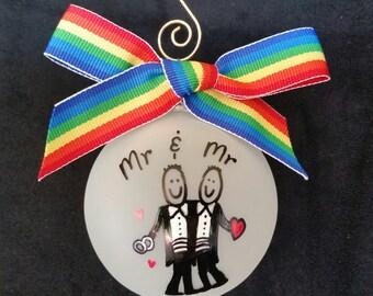 gay wedding gift , personalized gay wedding gift, gay wedding ornament,gay christmas ornament,gay men, gay marraige ornament