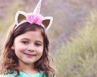 Unicorn headband - pink and gold - Easter gifts for girls - kids easter gift - felt unicorn headband - unicorn lover gift - birthday gift
