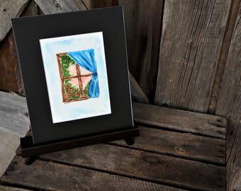 Original Hand Painted Watercolor Window Vignette, Painting, Matted artwork, Vignette, Window, Flowers, Watercolor window, Gift, Original Art