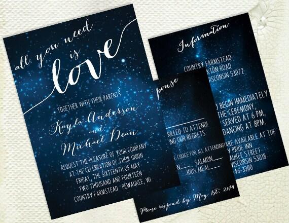 Star Wedding Invitations: DIY Printable Wedding Invitation Galaxy Stars Space