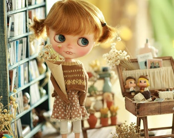 Miss yo 2015 Summer & Autumn - Vintage Hollow Pattern Sweater for Blythe / JerryBerry doll - dress / outfit - Brown