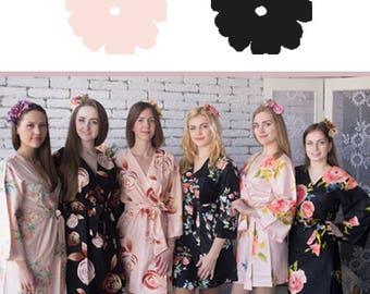 Blush and Black Wedding Color Bridesmaids Robes - Premium Soft Rayon - Mismatched Pattern - Wider Belt and Lapels - Wider Kimono sleeves