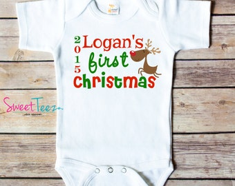 My First Christmas Shirt Reindeer Baby Bodysuit Personalized