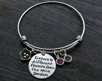 Sisters Bracelet / Wire Bangle / Different flowers from the same garden / Charm Bracelet / Sisters Jewelry