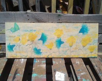 Water Color Blue and Gold Flowers on Wood,Create Your Own Water Color,Water Color Painting,Water Color Sign,Custom Hand Painted Water Color