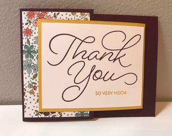 Thank You, Trifold Handmade Stampin' Up! Card