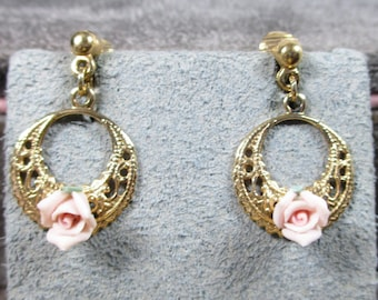 Vintage 1928 Jewelry Co. Beautiful Genuine Porcelain Rose Earring Hoops with Lever Backs, Try our Clip Conversion to Pierced