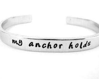 Hebrews 6:9 My Anchor Holds Christian Bracelet, Bible Verse Jewelry, Scripture Cuff, Inspirational Gift, Faith Gift for Christian Woman