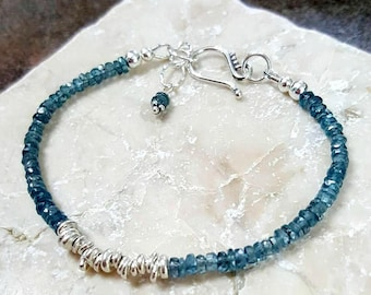 Teal Kyanite Bracelet, Karen Hill Tribe Fine Silver, Rare Gemstone, Handcrafted, Unique, Artisan, Pure Silver, Womens Gift, Special