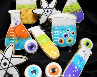 Reserved for Jennifer--Mad Scientist Cookies - 12 Cookies