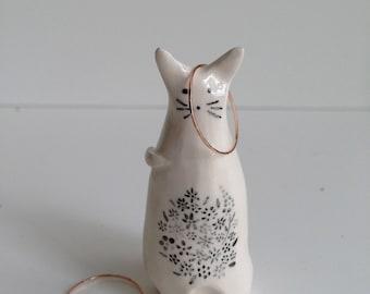 Ceramic hand painted cat ring cone.