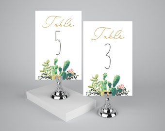 Succulent table numbers printable 1-20, Printable table numbers succulent watercolor, Succulent table sign, The Lane collection