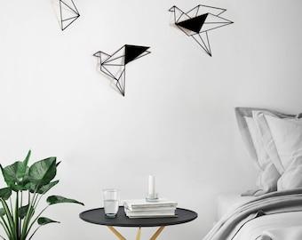 Set Of 3 Wall Art, Geometric Birds, Metal Bird Wall Art, Metal Birds
