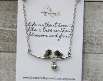 Love Bird Necklace - Two Birds on a Branch- Silver Love Birds
