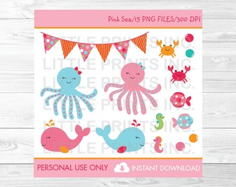 Pink Under the Sea Clipart / Under The Sea Baby Shower / Nautical Baby Shower / Whale Baby Shower / PERSONAL USE Instant Download A192