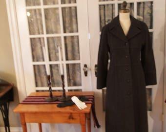 1980's Grey Wool Lauren Meren Coat with Black Lining