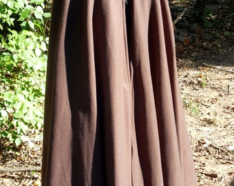 Dark Brown Long Cloak - Full Circle Fleece Medieval Renaissance Hooded Cloak - Costume Cape with hood