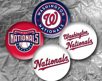 "Washington Nationals -  15 Images in 1 Inch Circles 4"" x 6"" Digital Collage Sheet For Bottle caps, Cupcake Toppers"