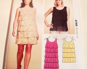 Flounce Dress Top Pullover scoop neck sleeveless Party Holiday Christmas New Years sewing pattern Kwik Sew 3755 UNCUT FF