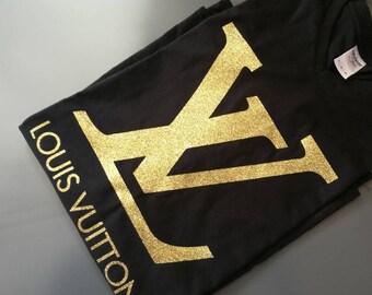 Louis Vuitton inspired iron on decal / LV heat transfer applique / diy t-shirt design /  glitter Vuitton / gold glitter / silver / rose gold
