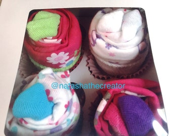 Set of 4 it's a girl onesies cupcakes, baby shower, cupcakes