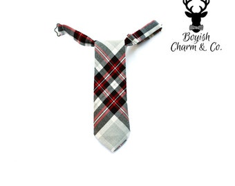 Boys Red and Black Plaid Necktie, Boys Necktie, Baby Boys Plaid Necktie, Toddler Boys Necktie, Christmas Outfit