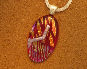 Red Dichroic Pendant - Fused Glass Pendant - Dichroic Jewelry - Dichroic Necklace - Fused Glass Jewelry - Fused Glass Necklace