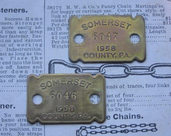 Price PER Tag Vintage 1958 58 Somerset PA Pennsylvania Brass Dog License Tag Metal Number Tag Dog Tax Jewelry Charm Bracelet Necklace Supply