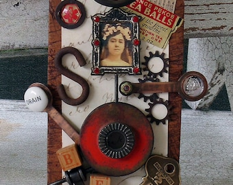 Original Art Assemblage from Vintage and Found Objects