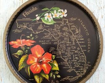Collectible Florida State Memorabilia Tin Plate, Panhandle State Travel Souvenir