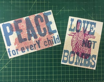 Peace For Every Child and Love Not Bombs postcard duo