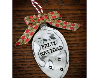 Vintage Silverplate Spoon Holiday Ornament - Feliz Navidad