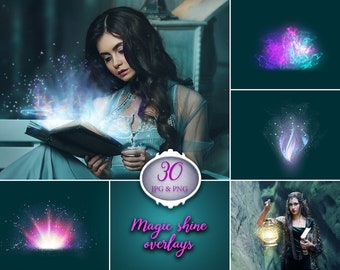 30 Magic shine overlays, Book Shine, Glow overlay, box, lights, photoshop overlay, digital download, texture, instant dowload, png file