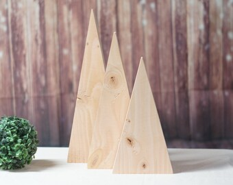 DIY Christmas Tree set of 3, Kids Christmas DIY, Kids Painting Project, DIY Christmas Decor, Unfinished Wood Tree or Mountain, Craft Project