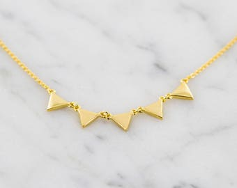 Gold Geometric Triangle Necklace - Simple Everyday Jewelry - Dainty Layering Necklace - Banner Necklace - Flag Necklace