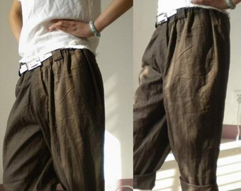 008---Boyfriend Style Women's Linen pants, Boyfriend Style-Leinenhose, Cool, Relaxed, Slouchy Fit Rolled Cuffs Pants, (excluding the belt).