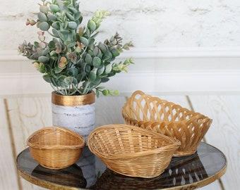 Vintage Brown Wicker Rattan Baskets - Set of Three
