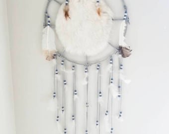 Vintage Fur and Feather Dream Catcher