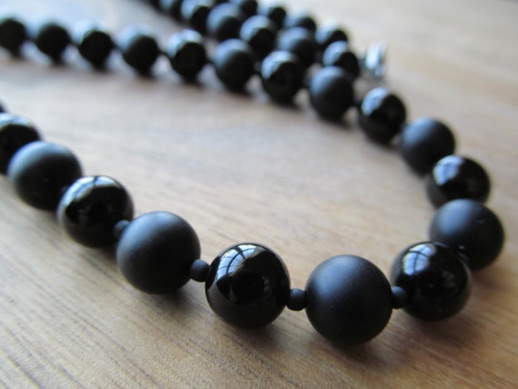 Mens Black Onyx Necklace Matte Black Onyx Mens Beaded