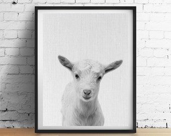 Baby GOAT Printable Art, Animal Nursery Wall Art, Black and White Decor, Modern Minimalist Animal Print, Baby Shower Gifts, Instant Download