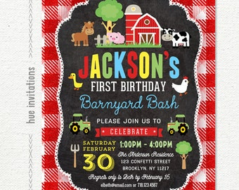farm first birthday invitation for boys, barnyard 1st birthday party invitation, red barn tractor cow pig, digital printable file