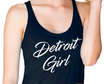 detroit girl women's racerback tank top (next level apparel)  |  detroit michigan pride