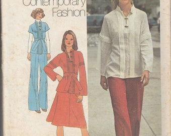 Simplicity 7258 1970's Two-Piece Dress or Top and Pants