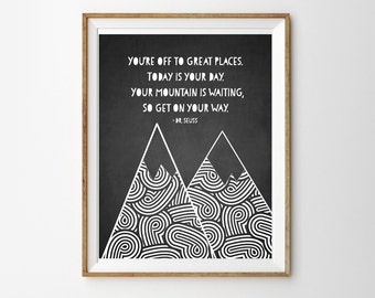 Adventure Print for a Baby Girl or Boy's Nursery - You're Off To Great Places - Dr Seuss Print - Instant Download Wall Art - Print at Home