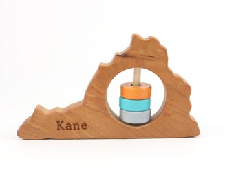 VirginiaState Rattle™- Modern Wooden Baby Toy - Organic and Natural